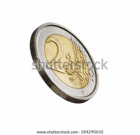 Two euros coin on white background.Euro coin. - stock photo