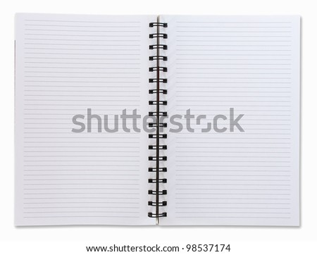 Two face open white notebook on white background