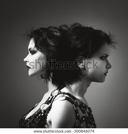 Two-faced, one side the girl with another guy. Photo art in black and white style - stock photo