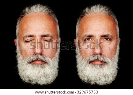 two faces of senior bearded man over black background