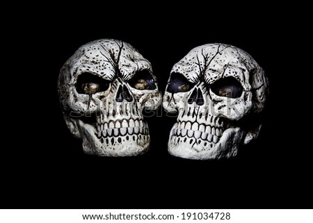 Two fake skulls are isolated on a black background. - stock photo