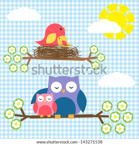 Two families - birds and owls. Raster version - stock photo