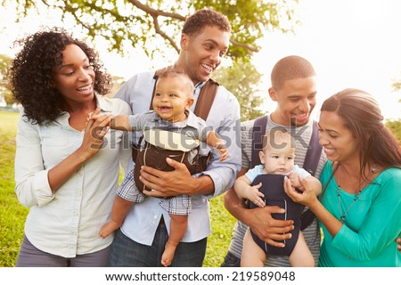 Two Families With Baby Carriers Walking In Park - stock photo