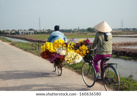 Two farmers bring flowers from field to home to sell in the next day - stock photo