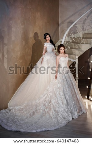 Two Fashion bride in gorgeous wedding dress studio portrait. Beautiful model with bridal makeup and hairstyle in marriage lace dress in luxury interior