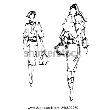 Two fashion women with bags - stock photo