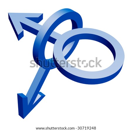 Two fastened blue emblems of the man on a white background - stock photo