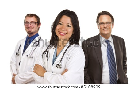 Two Female Doctors or Nurses Isolated on a White Background. - stock photo