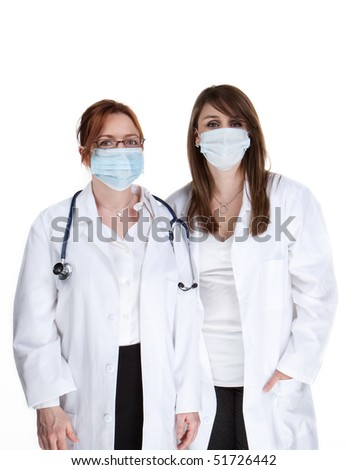 Two female doctors wearing surgical face masks
