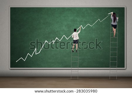 Two female entrepreneurs standing on the ladder and draw financial growth graph on the blackboard - stock photo