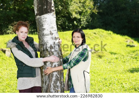 Two female friends enjoying nature