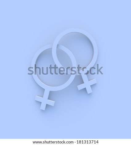 Two female gender symbols intertwined in blue. High quality 3D illustration. - stock photo