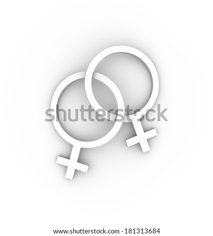 Two female gender symbols intertwined in white. High quality 3D illustration. - stock photo