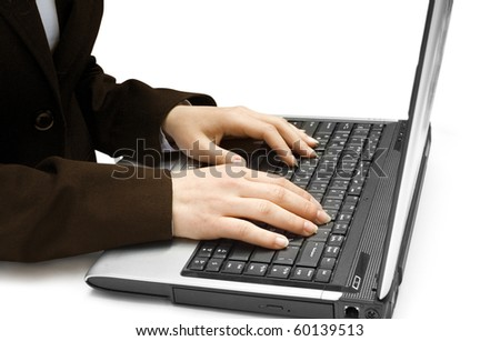 Two female hands on the laptop isolated on white background