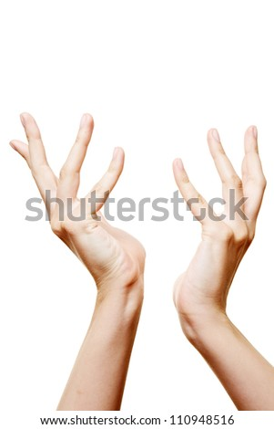 Two female hands reaching out for help