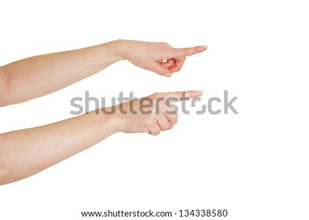 Two female index fingers pointing to the right - stock photo