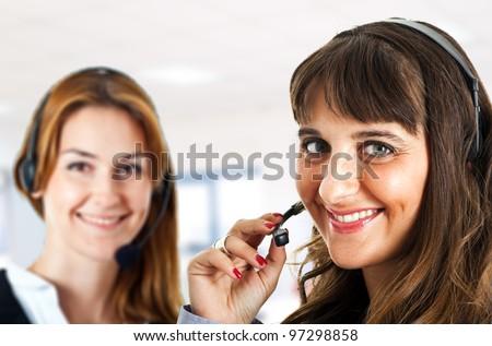 Two female operators - stock photo
