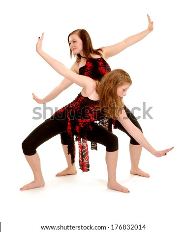 Two Female Teen Contemporary Dancers in Recital Costume Duet - stock photo