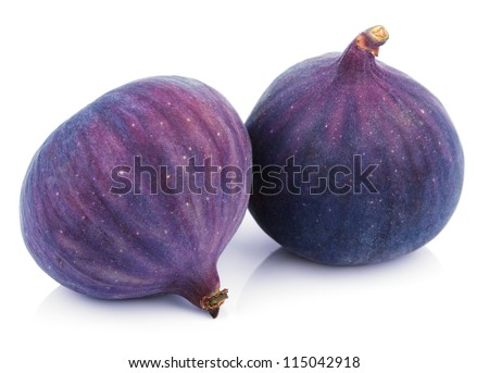 Two fig fruits isolated on white background - stock photo