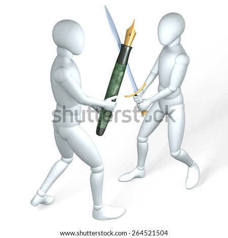 Two figures fighting each other with pen and sword, made up of coins, illustration, rendering  on white - stock photo