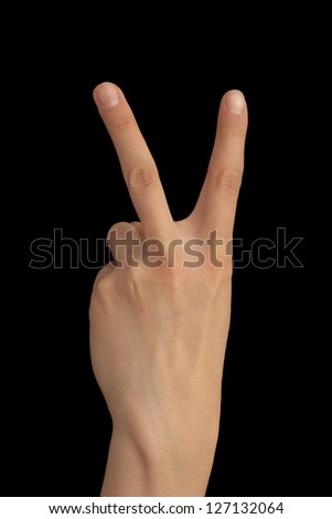 two finger on a hand on a black background