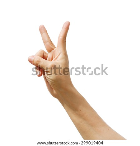Two fingers man hand, shows the number, Fighting symbol