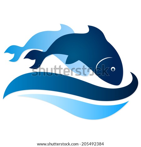 two fish on waves silhouette