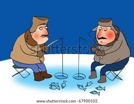 Two fishermans on a frozen river. Cartoon - stock photo