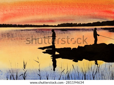 two fishermen catch fish at sunset
