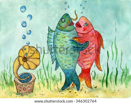 Two fishes dancing a waltz. Funny picture. Dance lovers. Watercolor painting. The dance of fishes on the background of the sea. - stock photo