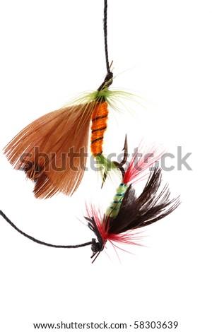 two fishhooks ,isolated on white - stock photo