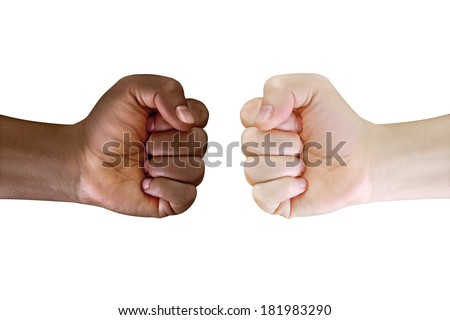 two fist black and white - stock photo