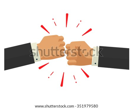 Two fists together illustration, two hands in air bumping together, punching label, fighting cartoon gesture, knocking badge, rock paper scissors game concept, modern design sign isolated - stock photo