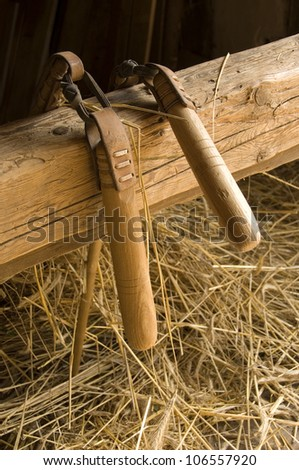 Two flais hanging ovesr an arbor with som straw underneath - stock photo