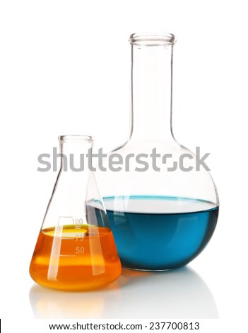 Two flasks with blue and orange fluid isolated on white