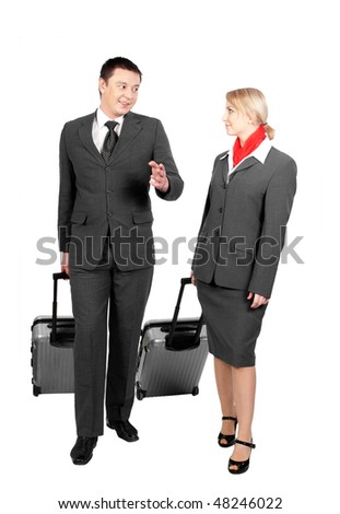 two flight attendants talking isolated on white background - stock photo