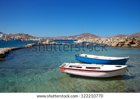 Two floating boats in Naoussa, Paros Island, Greece