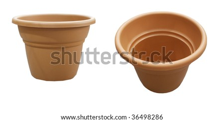 Two flower pots - stock photo