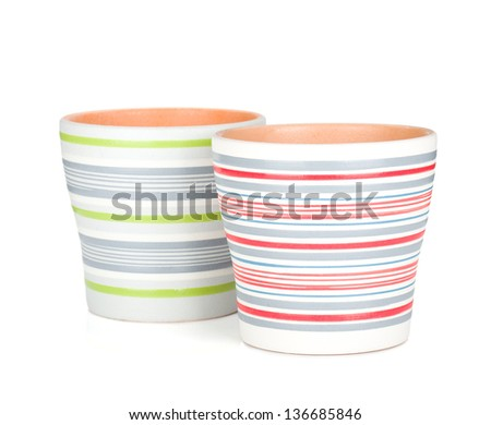 Two flower pots. Isolated on white background