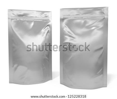 Two foil bag packages isolated on white background