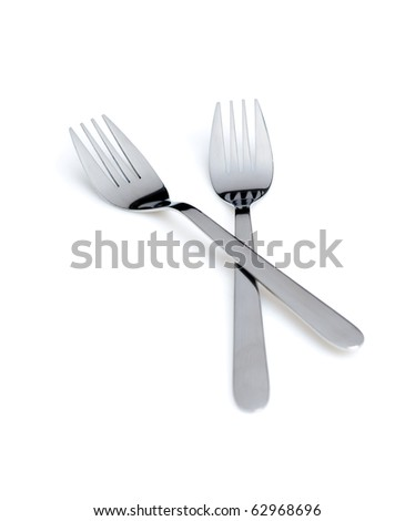 Two forks crossed over white bacgrond