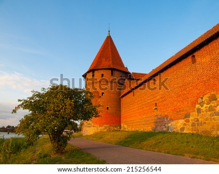 Two fortification towers at Nogat River in Malbork (Pomerania, Poland)