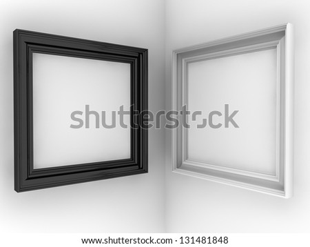 two frames on white wall