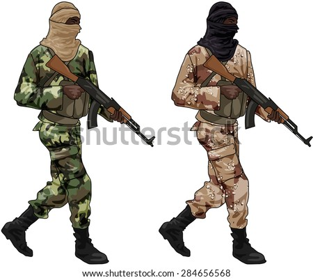 Two Freedom Fighters with Sub Machine Guns, Illustration Isolated on White Background - stock photo