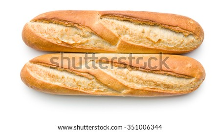two french baguettes on white background - stock photo