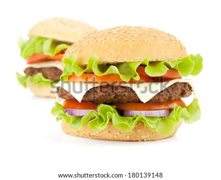 Two fresh burgers. Isolated on white background