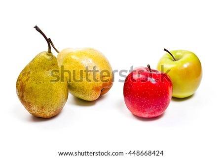 Two fresh green pears and two apples in red and green color. With clipping path. Group of juicy ripe fruits.  Isolated on white background.