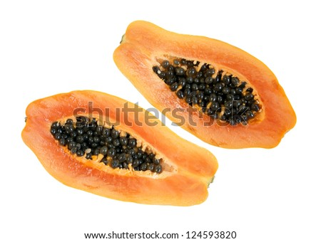 Two fresh  half papaya isolated on white background - stock photo