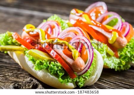 Two fresh homemade hot dog - stock photo
