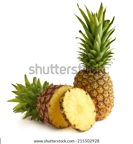 two fresh pineapple isolated on white background - stock photo